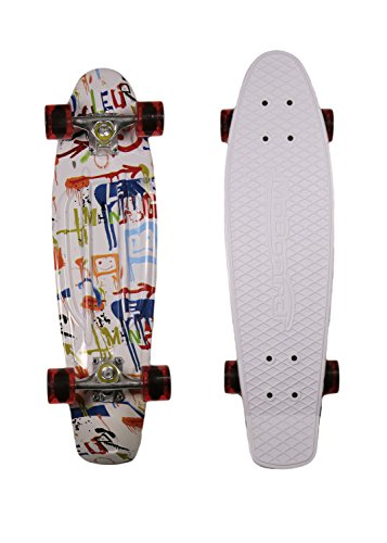 MoBoard Graphic Complete Skateboard | Pro / Beginner | Metal Bearings | 22 Inch Vintage Style with Interchangeable Wheels (White / Graphic Red)