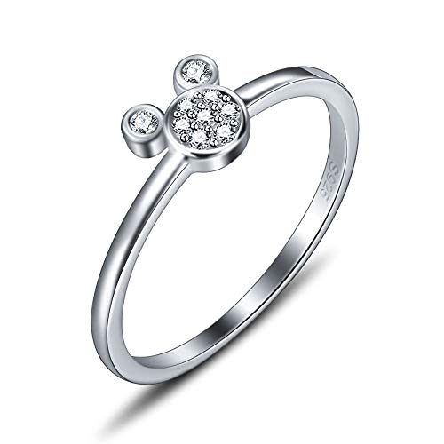 (925 Sterling Silver Cute Mouse Ring for Women Jewelry, Design CZ Rings for Women in Size6/7/8/9/10)