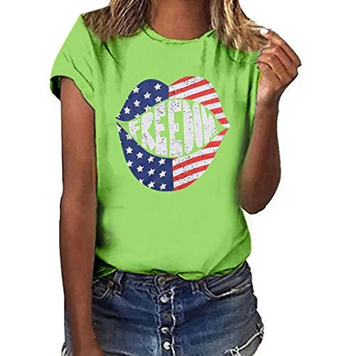 Women's Short Sleeve T Shirts, Loose Casual Lip Print Basic Tee S-3XL, Chic Freedom Patriotic Shirt Top Blouse Green ()