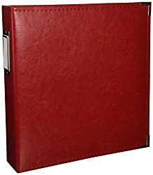 8.5 x 11-inch Classic Leather 3-Ring Album by We R Memory Keepers   Real Red, includes 5 page protectors