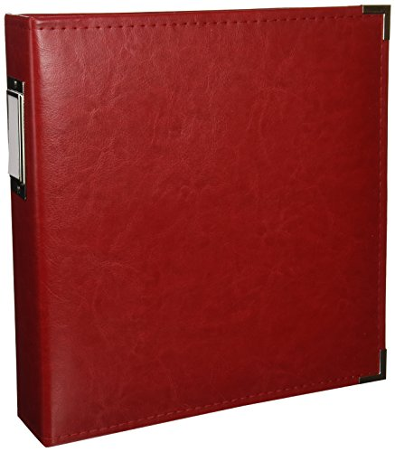 8.5 x 11-inch Classic Leather 3-Ring Album by We R Memory Keepers | Real Red, includes 5 page protectors
