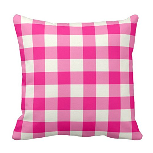 Emvency Throw Pillow Cover Colorful Garden Hot Pink Gingham Patio Decorative Pillow Case Home Decor Square 20 x 20 Inch Pillowcase (White Pink Gingham Check)