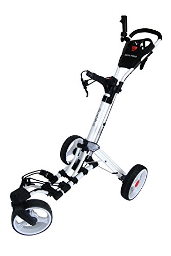 Swerve Founders Club 360 Swivel Wheel Qwik Fold Golf Push Cart (White/White)