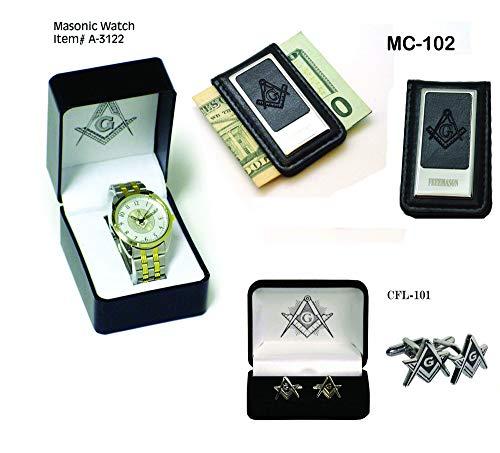 Fathers Day -Masonic Set - Mason Wrist Watch with Masonic Formal Cufflinks & Money Clip Set from SplendidGifts