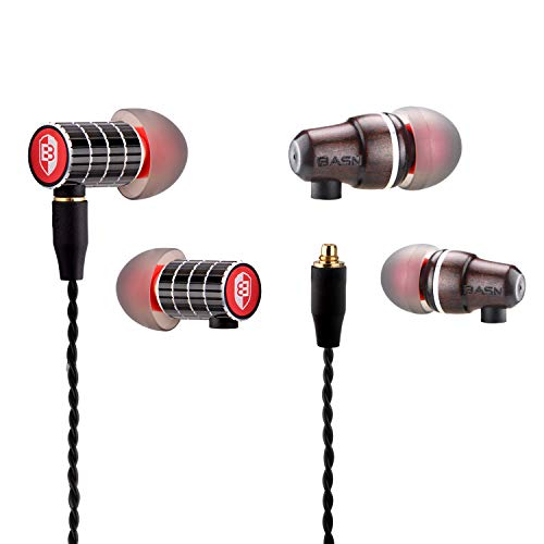 BASN Bibud in-Ear Noise-Isolating Headphone, Balanced Bass Driven Sound, Metal and Wood Housing, Dynamic Dual Drivers with Detachable Cable