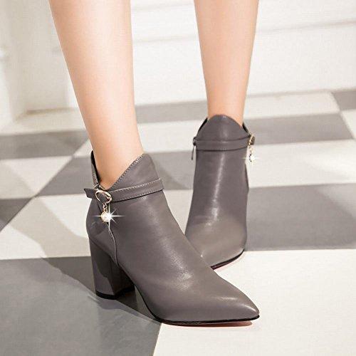... Mee Shoes Damen chunky heels Reißverschluss spitz Ankle Boots Grau