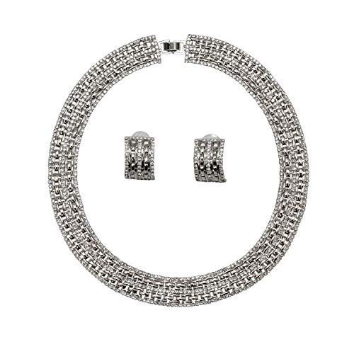 Faship Elegant Brilliant Clear Crystal Panther Link Choker Necklace Earrings Set - Clear/Immitation Platinum Plated