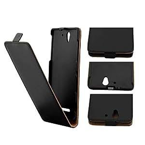 Mobilefashion Up-Down Funda de PU Cuero Case para Sony Xperia C3 D2533 D2502 5.5 inch (Negro)
