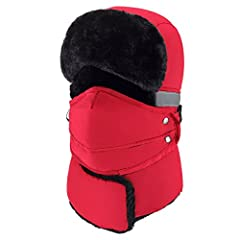 Mysuntown 2018 New Style Unisex Winter Trooper Trapper Hunting Hat Ushanka Ear Flap Chin Strap and Windproof Mask:Using high quality faux fur inner linerFaux fur lining provides you with warmth and comfort.Polyester outer shell makes the hat ...