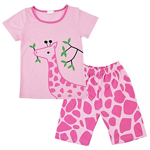 (Girls Pajamas Children Clothes Sets 100% Cotton Little Girl Pjs Kids Sleepwear 2 Piece Giraffe 4T)