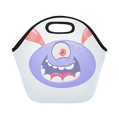 Insulated Neoprene Lunch Bag Funny Happy Cartoon Alien Alien Large Size Reusable Thermal Thick Lunch Tote Bags Lunch Boxes For Outdoor Work Office -
