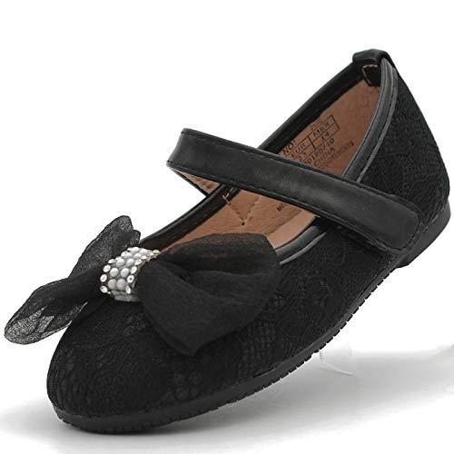 CAKI-Dream Seek Little Girl's Glitter Flats Ballet Dress Shoes Bow Lace Toddler Infant Baby Mary Jane Ballerina Strap (10 M US Toddler, -