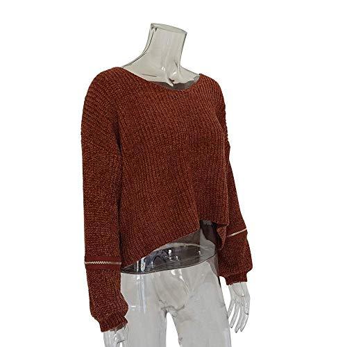 à taille élégant et capuche longues tricoté femme à Zhrui la grande Pull Couleur en Sweat Marron surdimensionné Pulls manches jaune shirts hiver patchwork mode pq0xvB