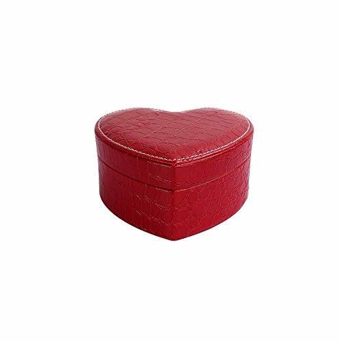 U7 Heart Shape Jewelry Box Display Organizer Holder with Mirror PU Leather Travel Case Storage Box (Red) ()