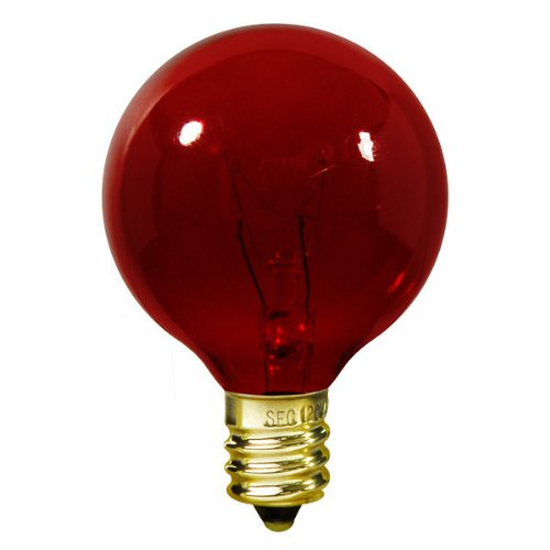 Bulbrite 306010 - 10 Watt - G12 Transparent Red - 130 Volt - 2,500 Life Hours - Amusement Light Bulb - Candelabra Base