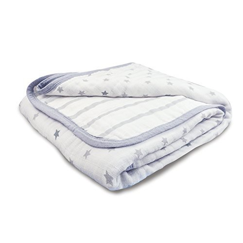 aden by aden + anais Dream Blanket, 100% Cotton Muslin, 4 Layer lightweight and breathable, Large 44 X 44 inch, Dove