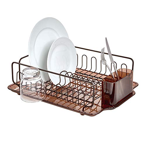 Sinkware Set - InterDesign Forma Lupe Stainless Steel Metal Sink Dish Drainer Plastic Tray Kitchen Drying Rack for Glasses, Silverware, Bowls, Plates, Utensils, Bronze