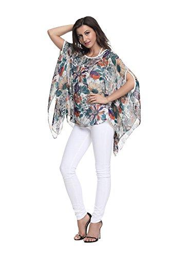 Style Chemise lache Style de Mousseline Femmes Couleurs Plage OKSakady Porter T en Tops Boho dcontract Les Size Plus 6 10011 Soie Shirt pour FPS1w7