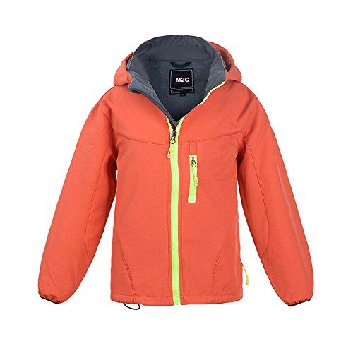 M2C Boys Hooded Waterproof Windbreaker Fleece Lined Softshell Jacket 8/9 Orange