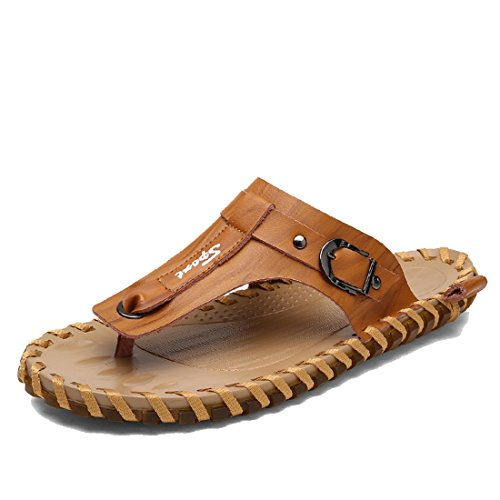 TDA Boys Mens Casual Synthetic Leather Flip Flops Beach Rubber Sole Stitching Slippers Brown hMpShgE