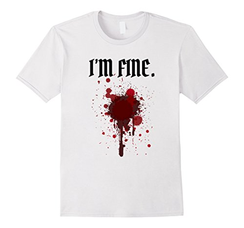 Mens I'm Fine Bloody T Shirt | Halloween Costume Shirt XL White