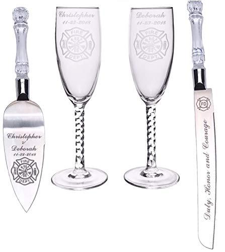 (Firefighter Maltese Cross Toasting Wedding Flute glasses & Cake Knife server set names FREE)