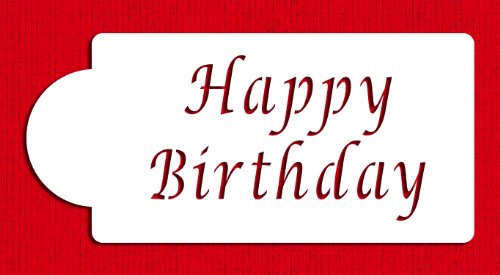 Designer Stencils C013 Happy Birthday Cake Stencil, Beige/semi-transparent]()