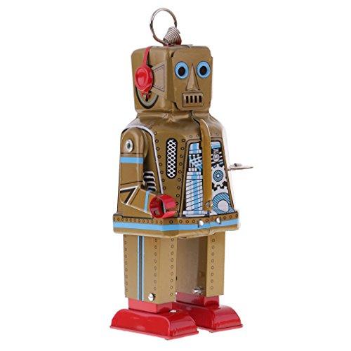 MagiDeal Retro Robot Tin Tinplate Wind-up Walking Clockwork Space Robot Toy Gift Gold ()