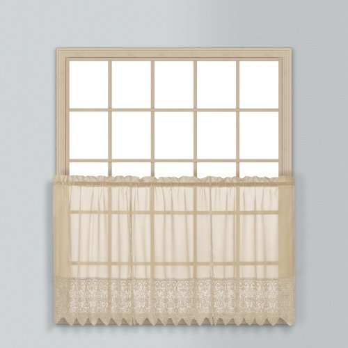 United Curtain Valerie Lace Sheer Kitchen Tiers, 52 by 24-Inch, Taupe, Set of 2