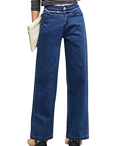 Pattes Bleu Haute Vintage Loisirs ZhuiKunA Femmes DElphant Ample Denim Taille Jean ZWTTOc5v