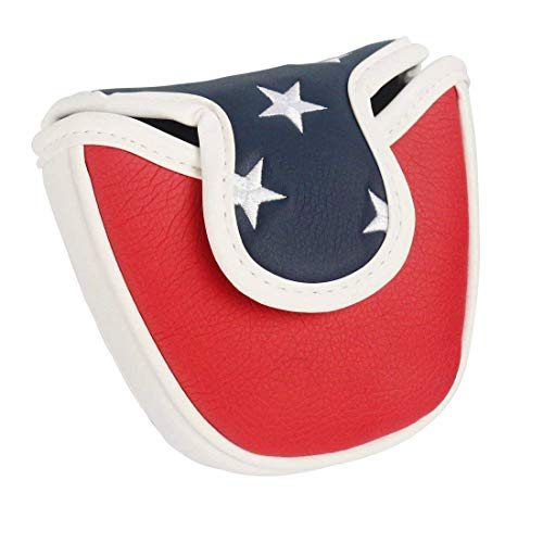 PINMEI USA White Red Blue Star Mallet Putter Cover Golf Putter Head Cover Perfect for Callway Taylormade Ping Scotty Cameron Odyssey Magnetic Closure (Star)