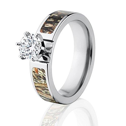 (Mossy Oak Duck Blind Camo Wedding Ring w/ 1 CTW 14k Prong Setting)