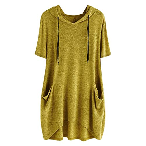 Sunmoot Clearance Sale Plus Size Blouse for Womens Hooded Tunic Girls Summer Casual Cartoon Print Cat Ear Graphic Short Sleeve Side Pockets T Shirt Tops D-Yellow