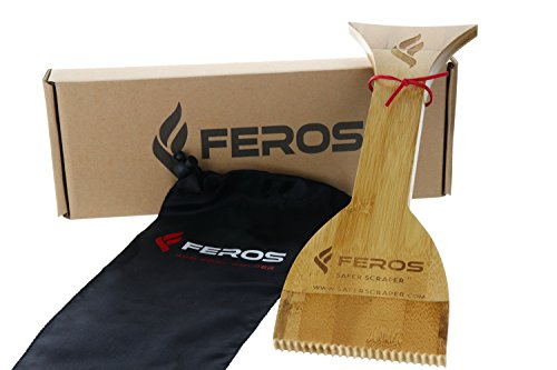FEROS Safer Scraper - Wood BBQ Wooden Grill Cleaner + FREE Waterproof Storage Bag! Cleans top AND BETWEEN barbecue grates. Use to oil & clean barbeque. Sustainable replacement for wire (Groove Replacement Filters)