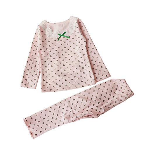 Feidoog Baby Girls 2 Piece Pjs Set Longs Sleeve Pajamas Set 100% Cotton Sleepwear Toddler Clothes Kids Shirts Set,Pink,3-4T