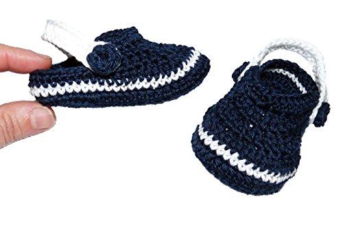 Söckchen Baby Crocs handgefertigt 100% Baumwolle 9-12 meses Morado-amarillo marineblau