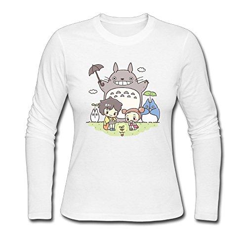 Sweetheart Style Ring Spun Cotton Totoro Plant Long Sleeve T-Shirt White US Size L