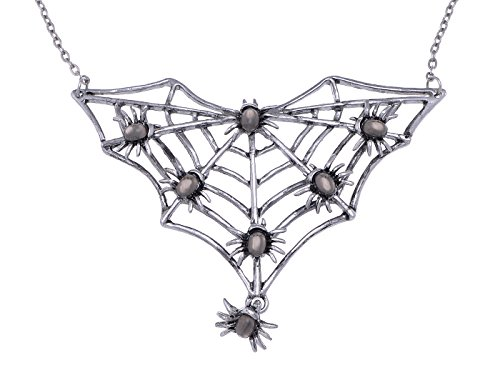 Alilang Gunmetal Tone Halloween Creepy Spider Web Bug Cutout Pendant Necklace