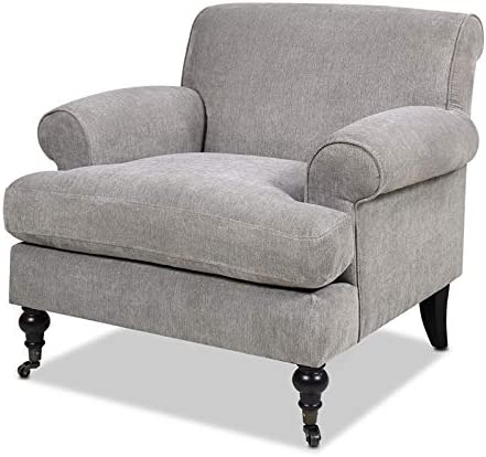 Jennifer Taylor Home Alana Lawson Accent Arm Chair Metal Casters Silver Grey
