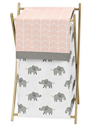 Sweet Jojo Designs Blush Pink, Grey and White Baby Kid Clothes Laundry Hamper for Watercolor Elephant Safari Collection