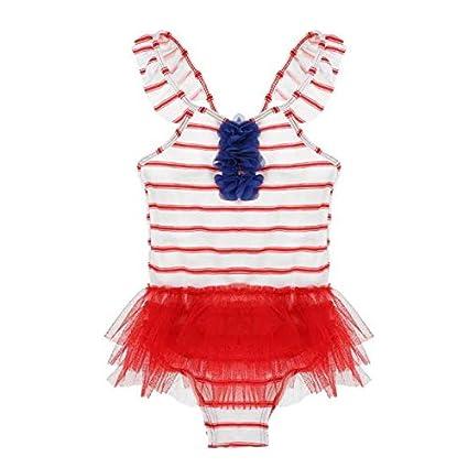 3-5T One Piece Swimwear Girls Children Cute Flower Beach Gauze Bathing Suit Striped Swimsuit Summer Value-Home-Tools