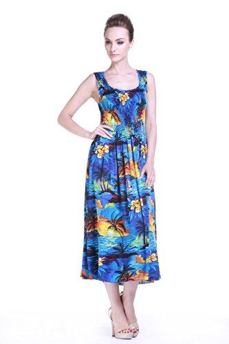 Women's Hawaiian Maxi Tank Elastic Luau Dress Sunset Blue
