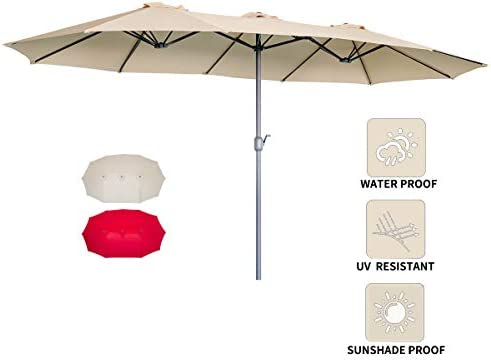 AECOJOY 15x9FT Outdoor Patio Umbrella Double-Sided Market Umbrella Large Sunbrella Table Umbrella