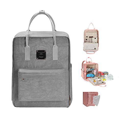 Bebamour Waterproof Diaper Bag Backpack Wide and Large Capacity for Baby Care Changing Pad (Grey)