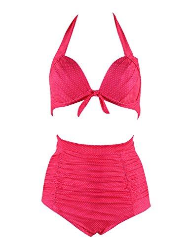 Retro 50s Adjustable Strap Swimsuits Solid Vintage Swimwear High Waist Bikini Set(FBA) (Pink with Dot, 3XL(US 12-14)) (Tie Straps That)