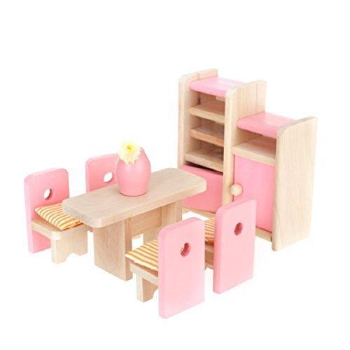 Aisster Wooden Furniture Dollhouse Miniature Pink Dining Roo