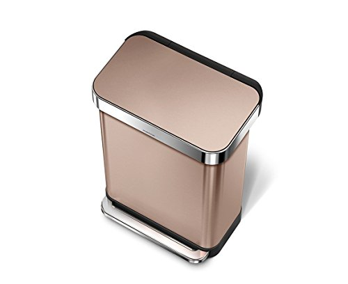 simplehuman Rectangular Step Trash Can with Liner Pocket, Rose Gold Stainless Steel, 55 L / 14.5 Gal by simplehuman