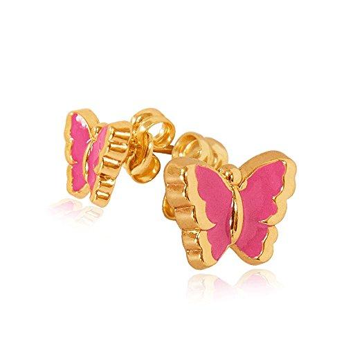 Or et papillons roses. Boucles d'oreilles or 14/585 de l'or jaune. 0.6g