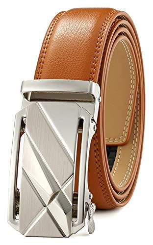 Men's Belt Ratchet Dress Belt with Automatic Buckle Brown/Black-Trim to Fit-35mm - Beige Brown Leather