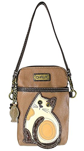 Cats Tickets (Chala Crossbody Cell Phone Purse - Women PU Leather Multicolor Handbag with Adjustable Strap - Cat - Brown)